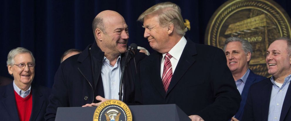 PHOTO: President Donald Trump and National Economic Council Director Gary Cohn affirm their support for each other at Camp David on January 6, 2018 in Thurmont, Maryland.