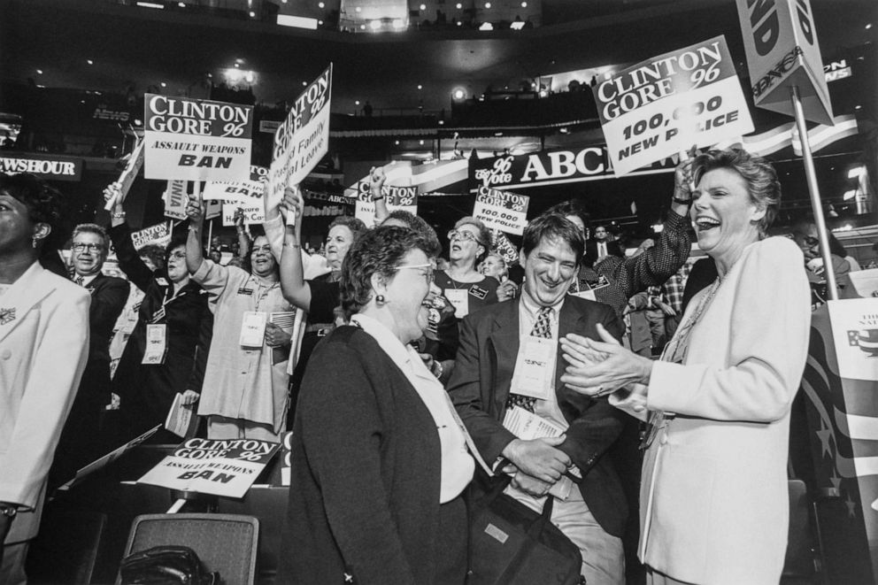 PHOTO: Cokie Roberts, right, applauds along with Sen. Barbara Mikulski,at the 1996 Democratic National Convention in Chicago.