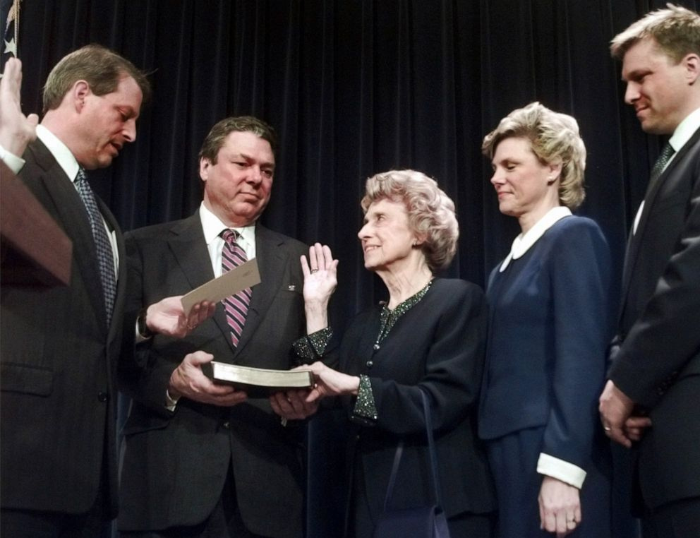 PHOTO: Vice President Gore administers the oath of office to Lindy Boggs as ambassador to the Vatican during a ceremony in Washington, D.C., Nov. 12, 1997, as her son Tommy holds the Bible and her daughter Cokie Roberts and grandson Paul Sigmund watch.