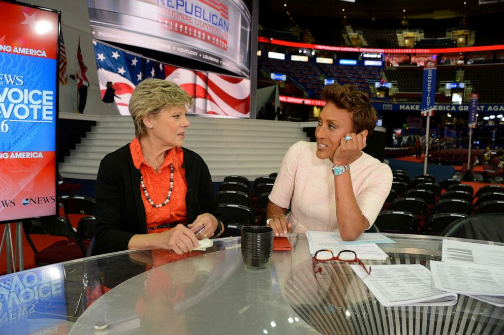 PHOTO: ABC News Cokie Roberts, left, and Robin Roberts coverage of the 2016 Republican National Convention from the Quicken Loans Arena in Cleveland, Ohio, July 20, 2016.