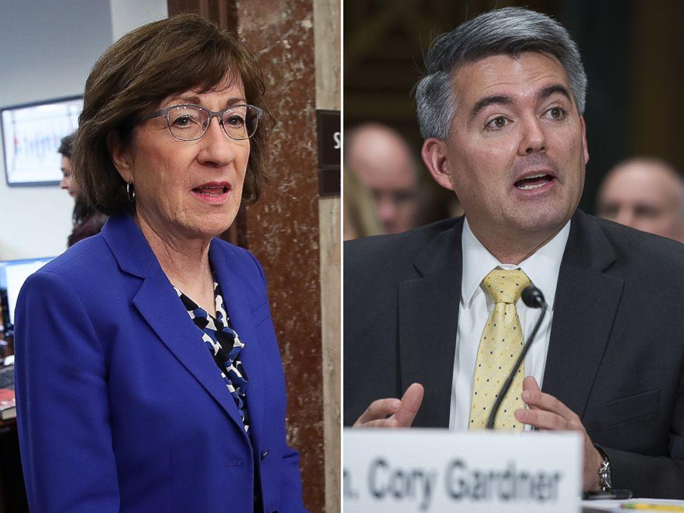 PHOTO: Maine Senator Susan Collins, left, and Colorado Senator Cory Gardner.