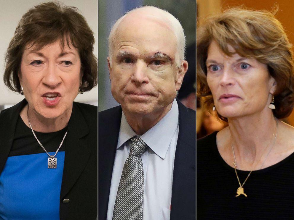 Sen. Susan Collins, R-Maine, on Capitol Hill in Washington, July 13, 2017.  Sen. John McCain returns to the Senate, July 25, 2017.   Senator Lisa Murkowski arrives for a Senate health care vote on Capitol Hill, July 27, 2017.
