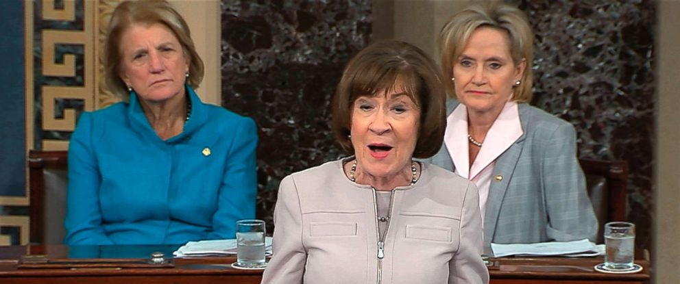 PHOTO: In this image from video provided by Senate TV, Sen. Susan Collins, R-Maine., speaks on the Senate floor about her vote on Judge Brett Kananaughs nomination to the U.S. Supreme Court, Oct. 5, 2018, in the Capitol in Washington.