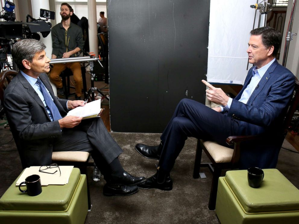 PHOTO: George Stephanopoulos sits down with former FBI director James Comey for an exclusive interview that will air during a primetime 20/20 special on Sunday, April 15, 2018 on the ABC Television Network.