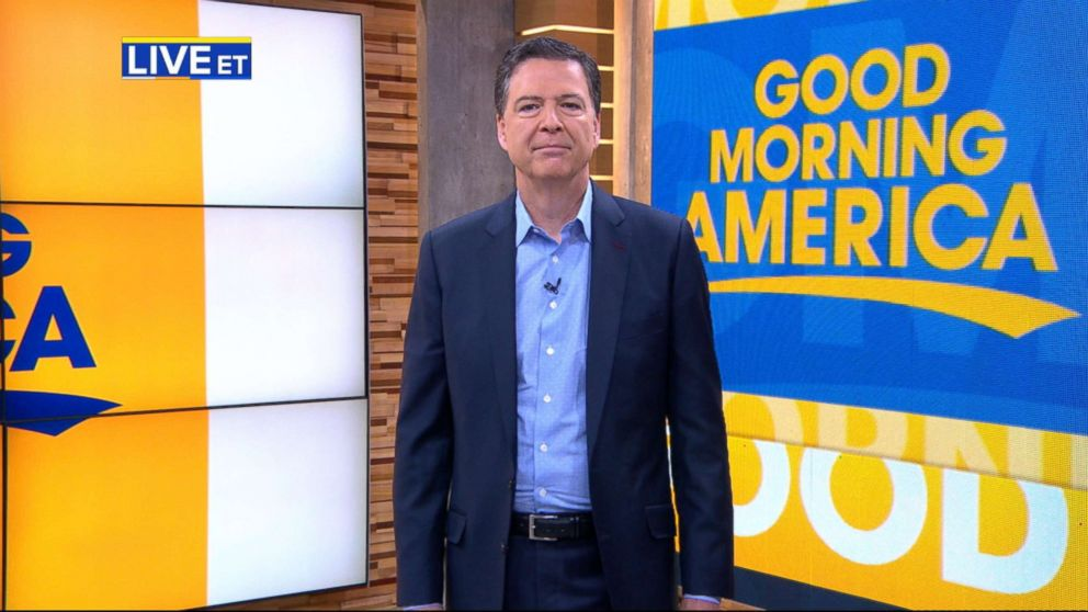 """James Comey appears on """"Good Morning America,"""" April 17, 2018."""