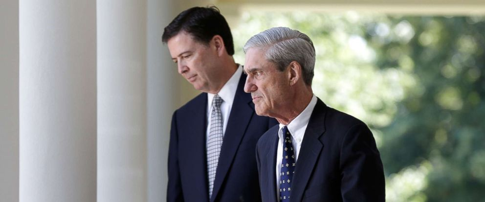 PHOTO: James Comey walks with Robert Mueller to a ceremony announcing Comeys nomination in the Rose Garden at the White House June 21, 2013, in Washington.