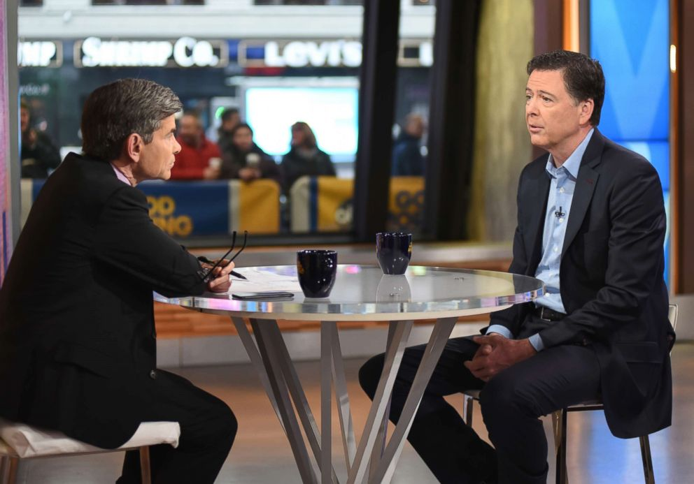 PHOTO: ABC News chief anchor George Stephanopoulos speaks to James Comey on Good Morning America, April 17, 2018.