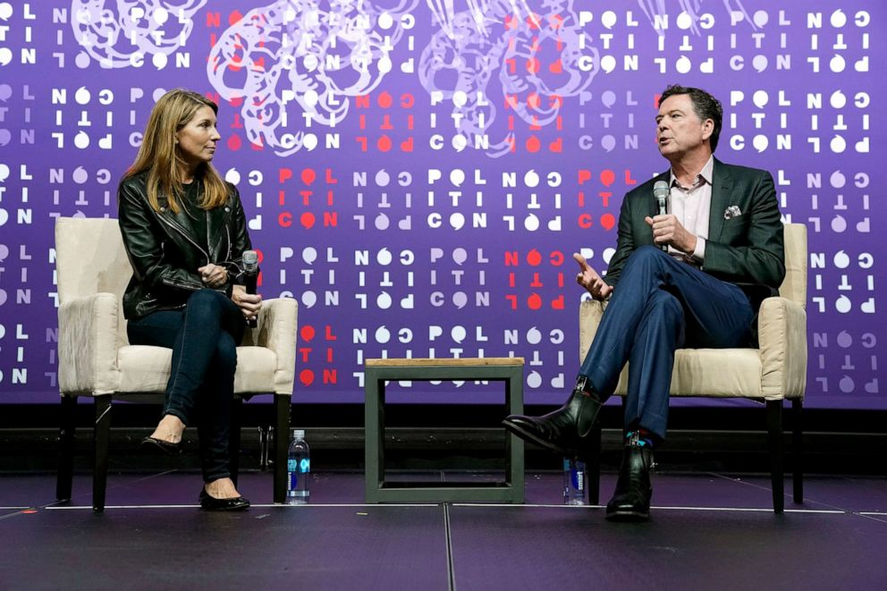 PHOTO: Nicolle Wallace and James Comey speak onstage during the 2019 Politicon at Music City Center on Oct. 26, 2019, in Nashville, Tennessee.
