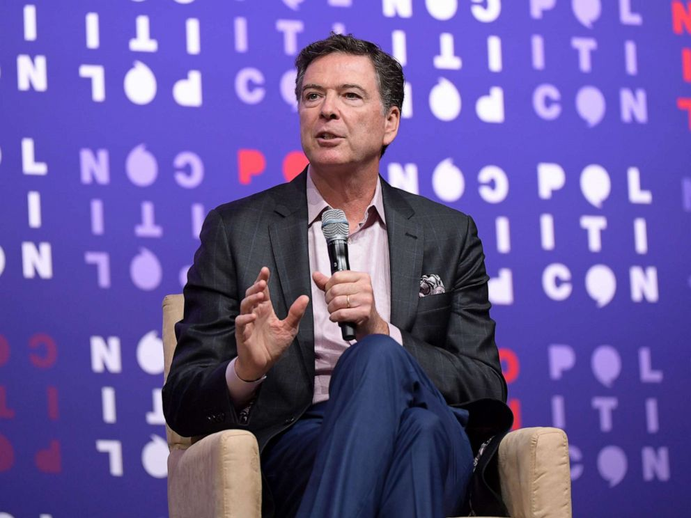 PHOTO: James Comey speaks onstage during the 2019 Politicon at Music City Center on Oct. 26, 2019, in Nashville, Tennessee.
