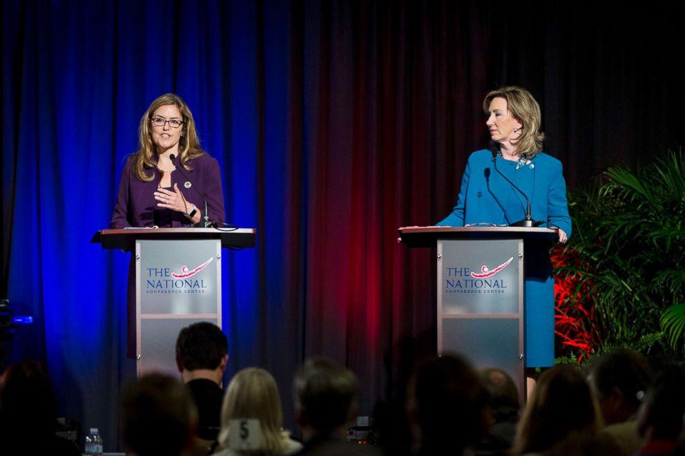PHOTO: Virginia 10th Congressional District candidates, Senator Jennifer Wexton and incumbent Representative Barbara Comstock participate in a debate on Sept. 21, 2018, in Leesburg, Va.