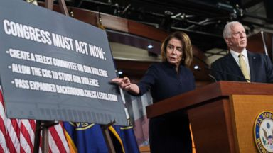 'PHOTO: House Minority Leader Nancy Pelosi and Rep. Mike Thompson address gun violence during a news conference in the Capitol Visitor Center on Feb. 15, 2018.' from the web at 'https://s.abcnews.com/images/Politics/congress-gun-control-gty-hb-180215_16x9t_384.jpg'