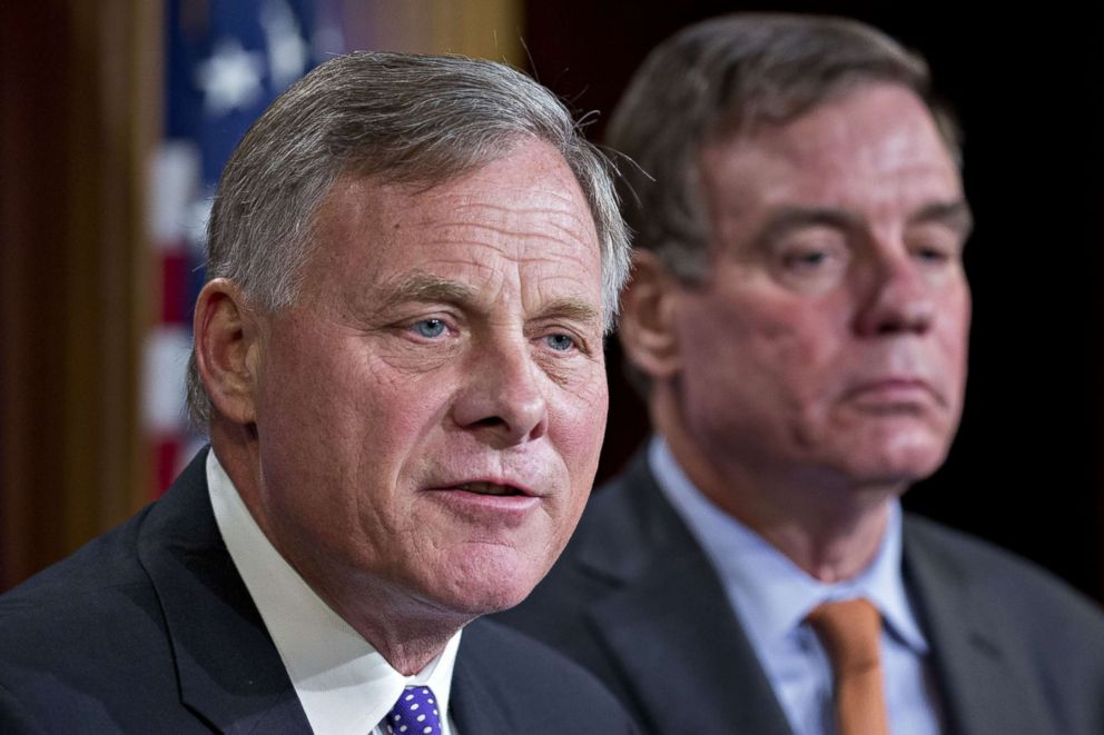 PHOTO: Senator Richard Burr, chairman of the Senate Intelligence Committee, with ranking member Senator Mark Warner during a news conference in Washington, D.C., Oct. 4, 2017.