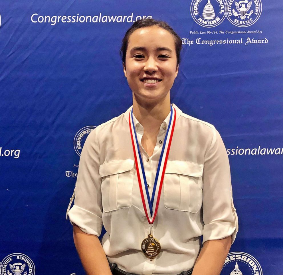PHOTO: Alex Jin from Maryland poses for a photo after receiving her Congressional Gold Medal in Washington on June 20th, 2019.