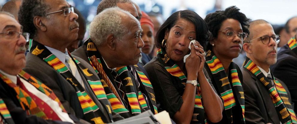 PHOTO: Rep. Jahana Hayes, center, wipes away a tear during an event at Emancipation Hall in the Capitol, Sept. 10, 2019, in Washington, DC.