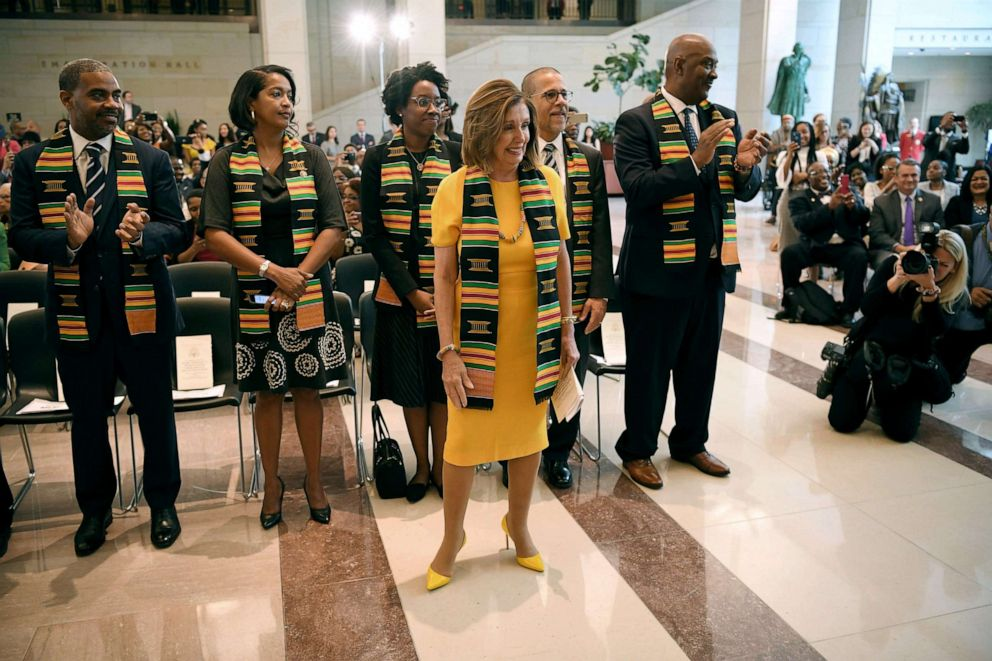 PHOTO: House Speaker Nancy Pelosi arrives for the Congressional Black Caucus (CBC) ceremony to commemorate the 400th anniversary of the first recorded forced arrival of enslaved Africans in the Emancipation Hall of the Capitol, Sept. 10, 2019.