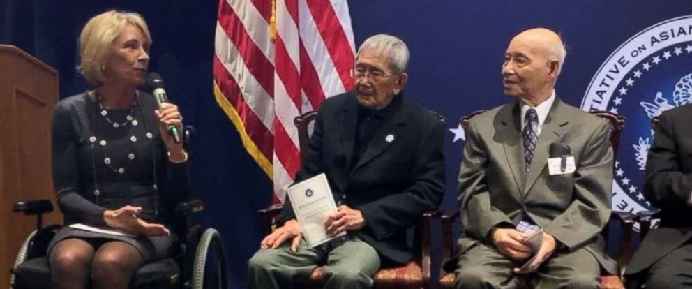 PHOTO: Sec. of Education Betsy DeVos offers remarks to honor five Chinese-American World War II Veterans the Congressional Gold Medal on Jan. 29, 2019, at the U.S. Department of Veteran Affairs in Washington.