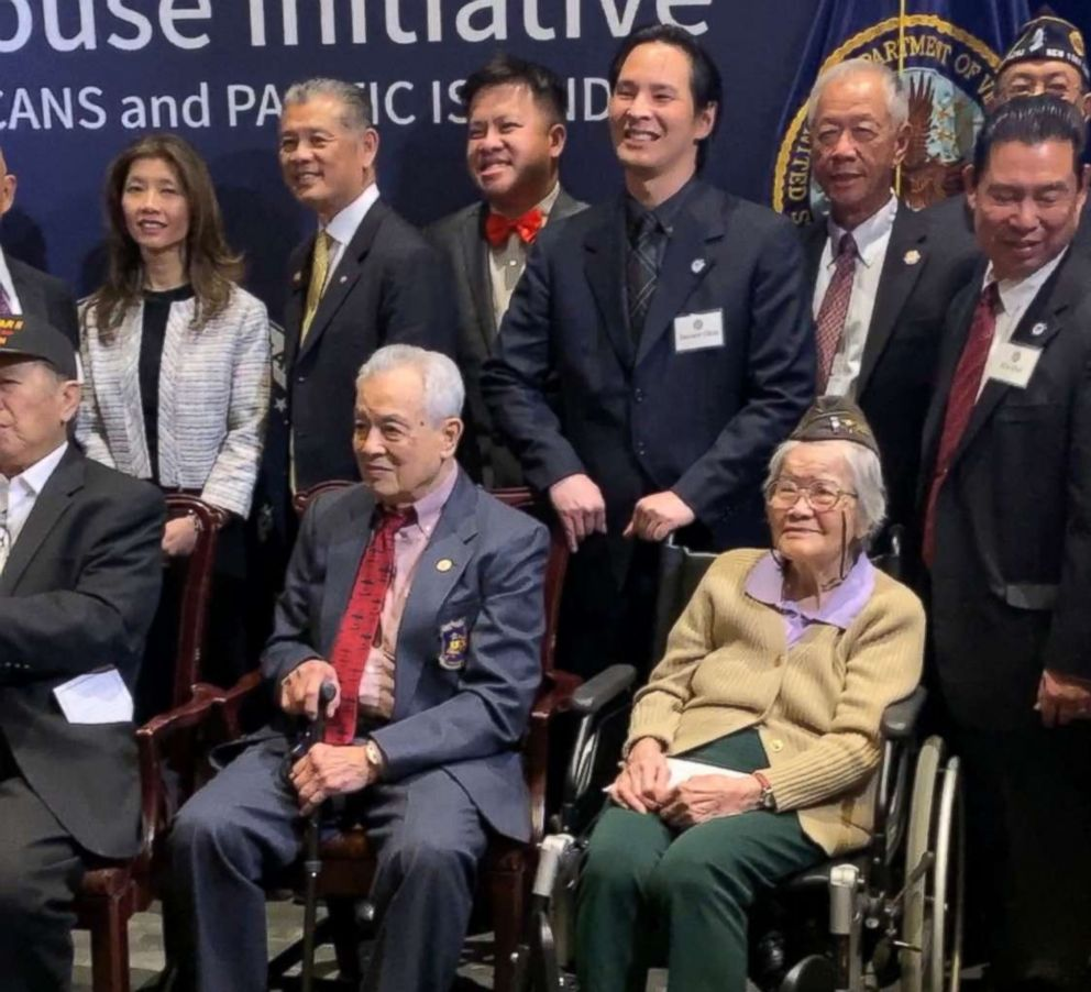 PHOTO: Robert M. Lee and Elsie Seetoo, front row, pose for photos with members of the Chinese American Citizens Alliance after being awarded with the Congressional Gold Medal in Washington, Jan. 29, 2019.