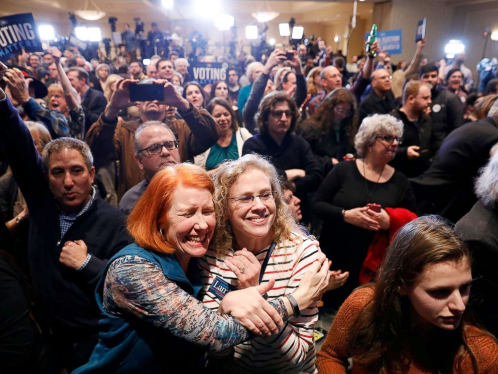 PHOTO: Supporters of Democratic congressional candidate Conor Lamb react to the results coming in during Lambs election night rally in Pennsylvanias 18th Congressional district special election in Canonsburg, Pennsylvania, March 13, 2018.