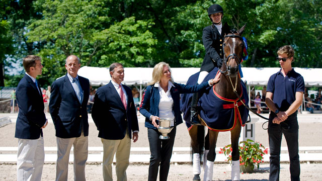 PHOTO: Ann Romney and officials at an awards ceremony during the National Grand Prix Dressage Championship at the United States Equestrian Federation Festival of Champions in Gladstone, NJ, June 16, 2012. Her horse, Rafalca, placed third and qualified to