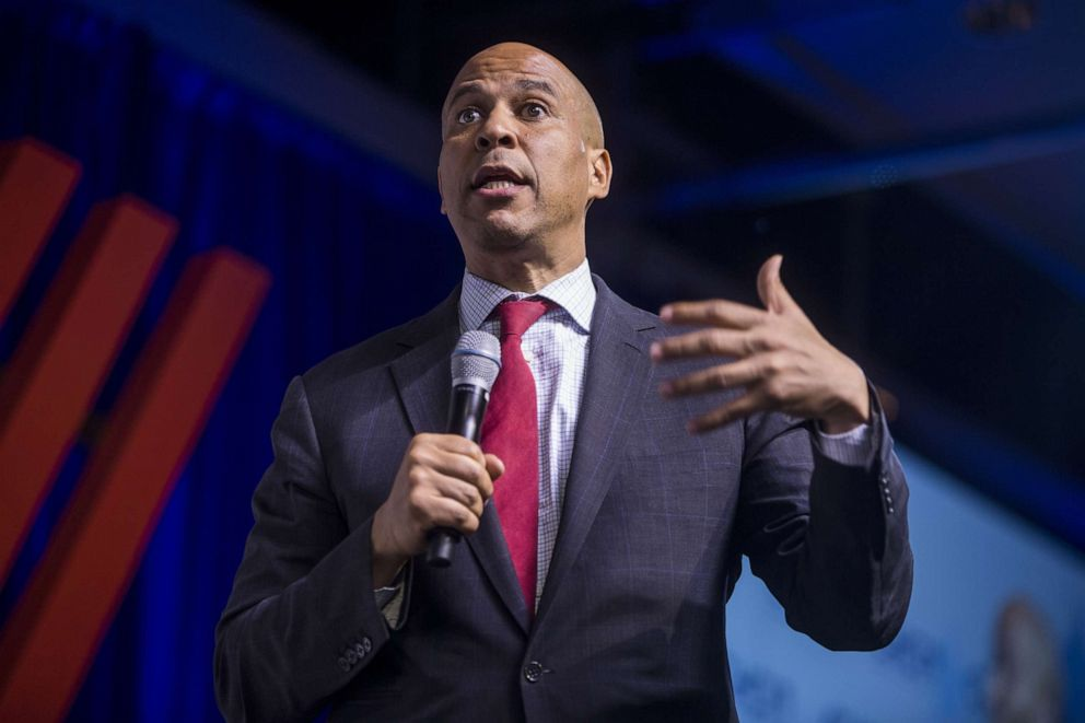 PHOTO: Democratic Presidential Candidate Sen. Cory Booker speaks during a presidential forum hosted by the Congressional Hispanic Caucus Institute, Sept. 10, 2019, in Washington, DC.