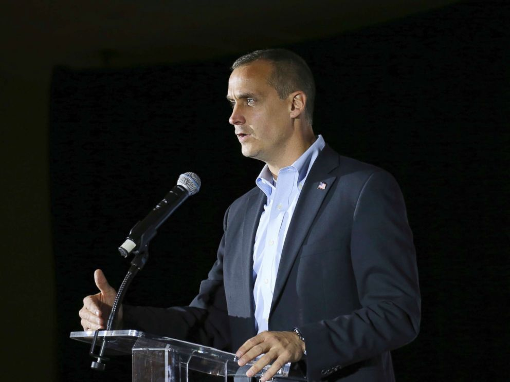 PHOTO: Corey Lewandowski, the former campaign manager for President Donald Trump, speaks during an event in Manchester, N.H., in this Nov. 9, 2017 file photo.