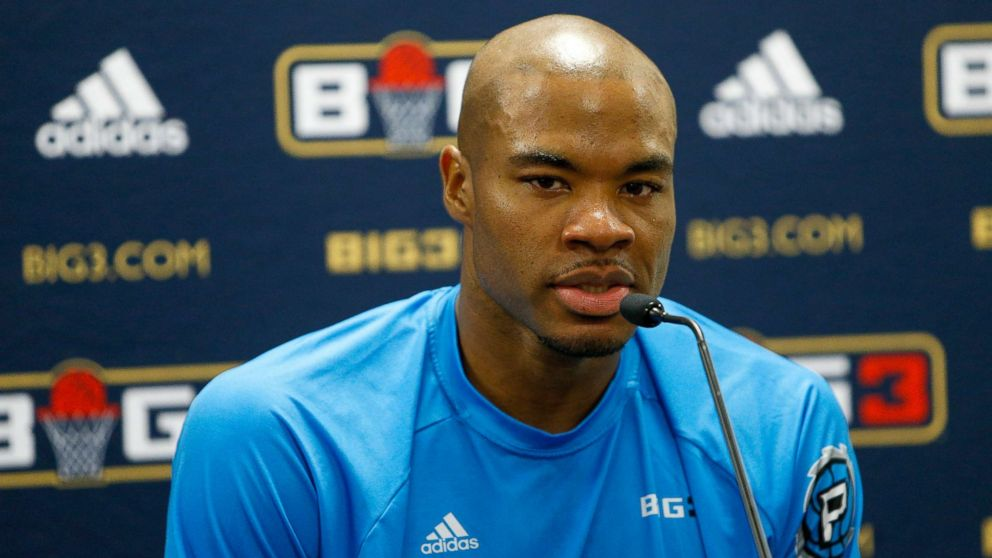 Corey Maggette answers questions from the media during week at Infinite Energy Arena, Aug. 10, 2018, in Duluth, Georgia.