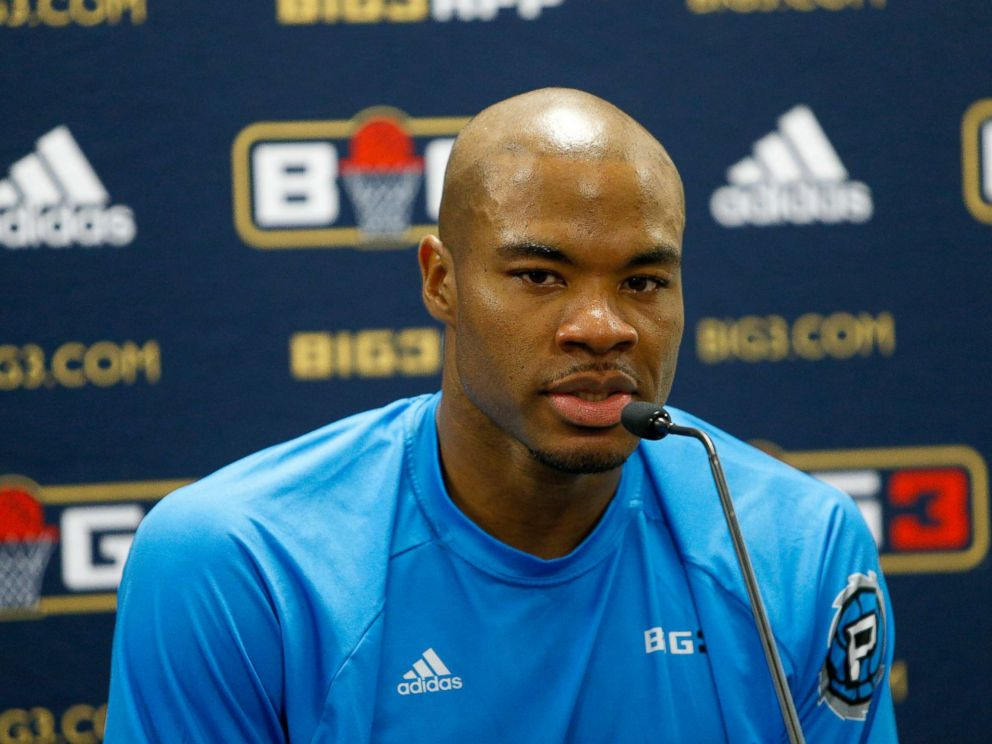 PHOTO: Corey Maggette answers questions from the media during week at Infinite Energy Arena, Aug. 10, 2018, in Duluth, Georgia.