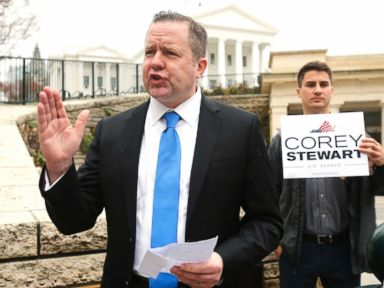 PHOTO: Virginia GOP senatorial hopeful, Corey Stewart, gestures during a news conference at the Capitol in Richmond, Va., on Feb. 22, 2018.