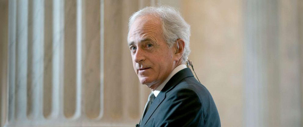 PHOTO: Senate Foreign Relations Committee Chairman Bob Corker, R-Tenn., takes questions during a TV news interview on Capitol Hill, April 19, 2018.