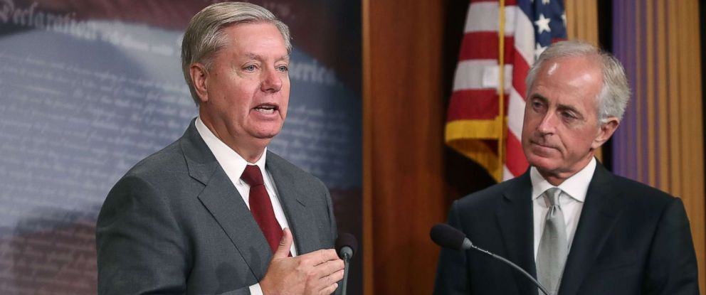 PHOTO: Sen. Lindsey Graham speaks about the Taylor Force Act while flanked by Sen. Bob Corker during a news conference Aug. 3, 2017 on Capitol Hill in Washington.