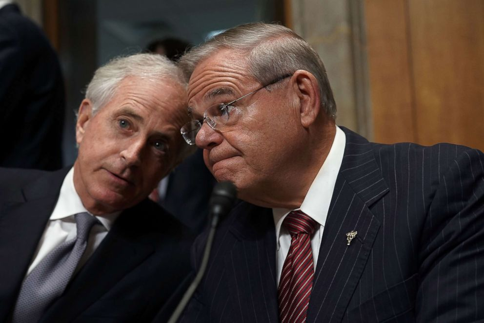 PHOTO: Sen. Bob Corker shares a moment with ranking member Sen. Bob Menendez prior to a committee meeting on Capitol Hill in Washington, April 23, 2018.
