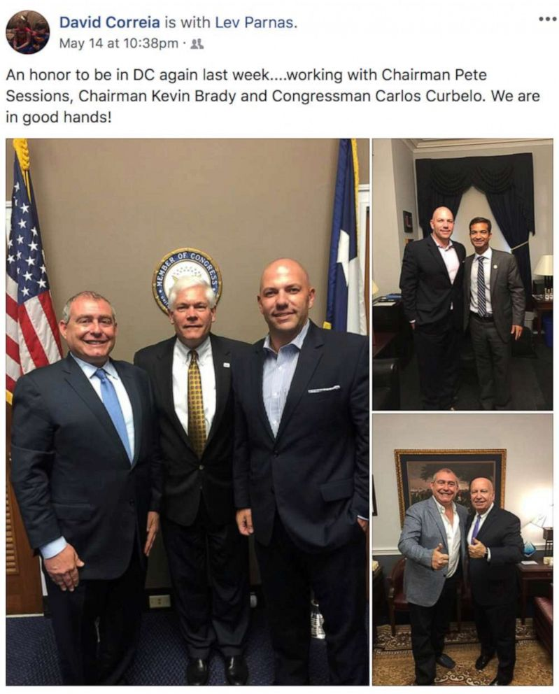 PHOTO: Ukrainian-American businessman Lev Parnas and businessman David Correia appear with former U.S. Rep. Pete Sessions (R-TX), Rep. Kevin Brady (R-TX) and former Rep. Carlos Curbelo (R-FL) in a 2018 screen capture from Correias social media account.