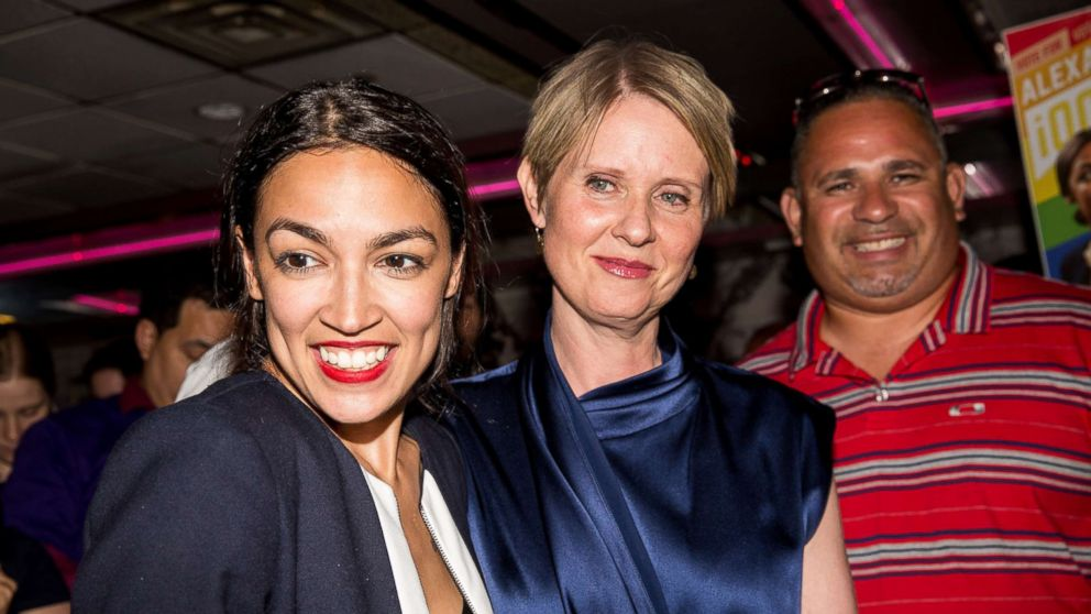 Progressive challenger Alexandria Ocasio-Cortez is joined by New York gubenatorial candidate Cynthia Nixon at her victory party in the Bronx after upsetting incumbent Democratic Representative Joseph Crowly, June 26, 2018, in New York City.