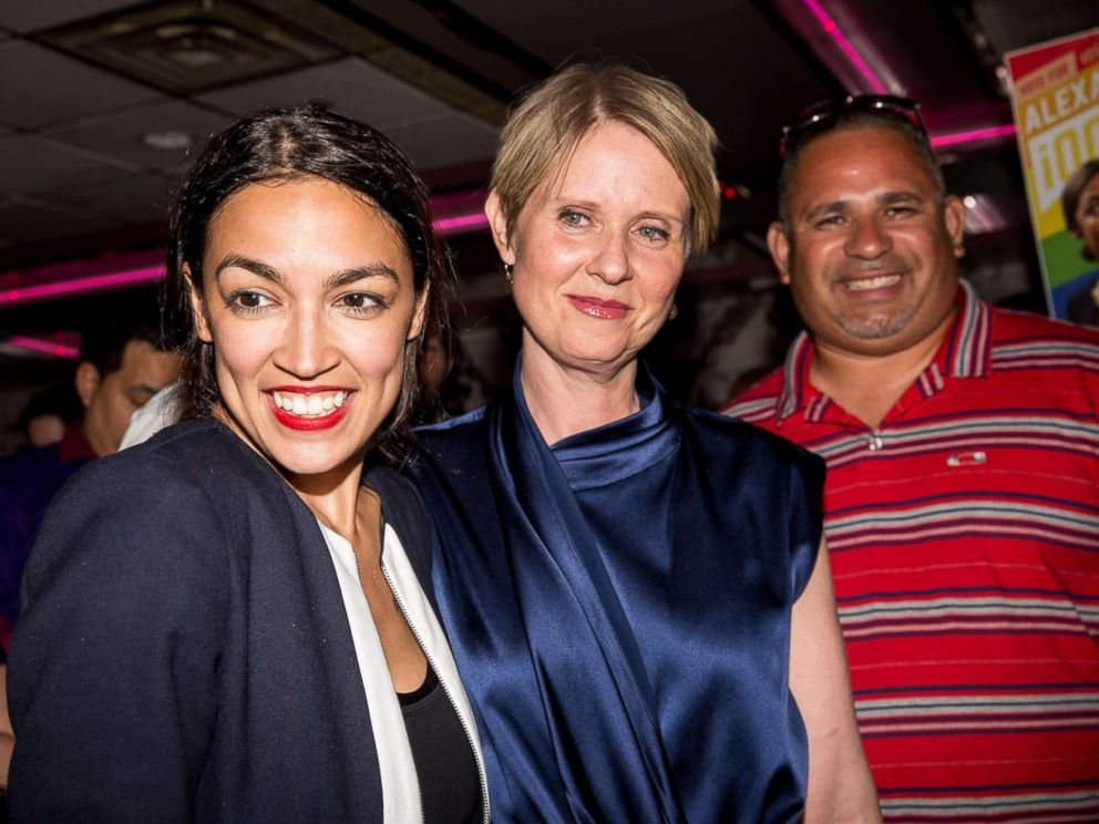 PHOTO: Progressive challenger Alexandria Ocasio-Cortez is joined by New York gubenatorial candidate Cynthia Nixon at her victory party in the Bronx after upsetting incumbent Democratic Representative Joseph Crowly, June 26, 2018, in New York City.