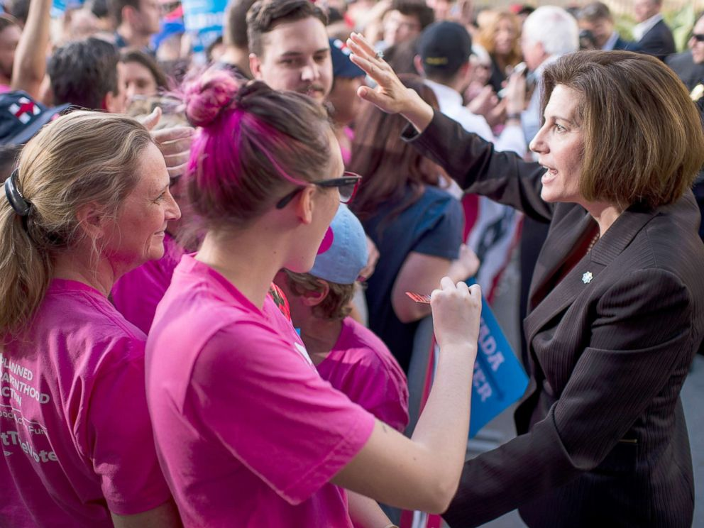 PHOTO: Catherine Cortez Masto, Democratic candidate for Senate from Nevada, shakes hands with the crowd after a campaign rally in Las Vegas, Nov. 6, 2016.