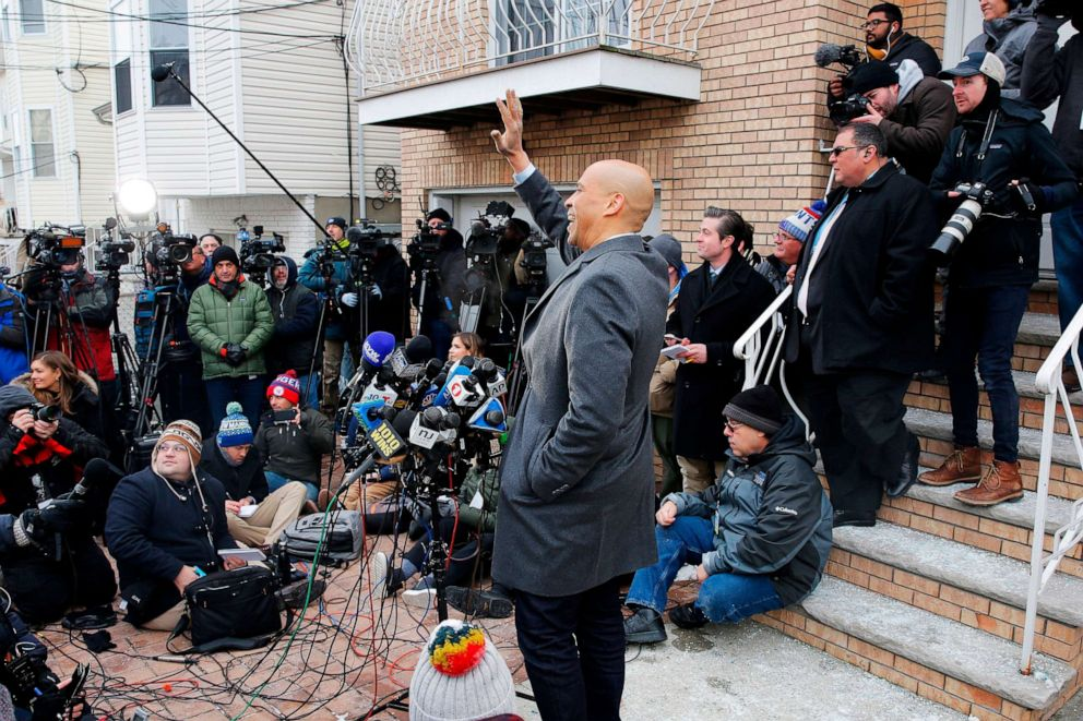 PHOTO: Sen. Cory Booker announces his run for US president in 2020, on Feb. 1, 2019, outside his home in Newark, N.J.