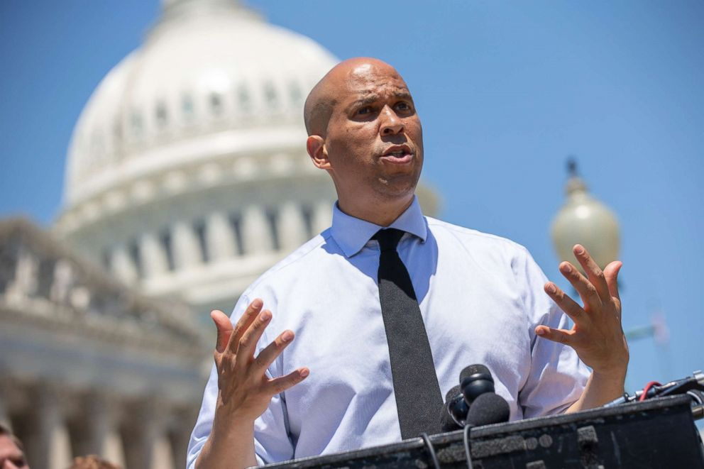 PHOTO: Sen. Cory Booker speaks during a news conference outside the U.S. Capitol on July 10, 2018, in Washington.