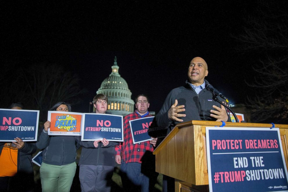 PHOTO: Sen. Cory Booker speaks at a rally outside the U.S. Capitol on Jan. 19, 2018 in Washington.