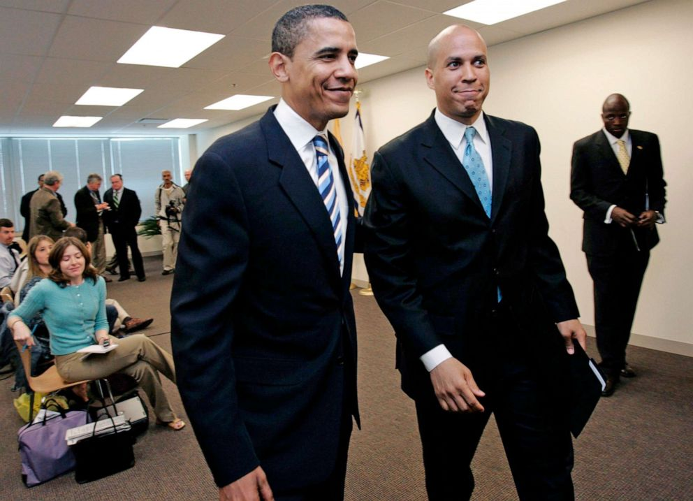 PHOTO: Democratic presidential candidate Barack Obama walks with Newark Mayor Cory Booker after Booker endorsed Obama at a news conference at Teterboro, N.J., May 14, 2007.