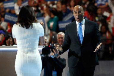 PHOTO: Sen. Cory Booker reacts after actress Eva Longoria introduced him on the first day of the Democratic National Convention at the Wells Fargo Center, July 25, 2016, in Philadelphia.