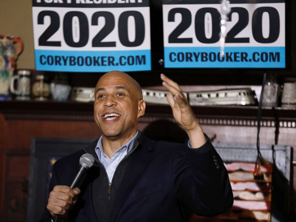 PHOTO: Sen. Cory Booker, D-N.J., speaks during a meet and greet with local residents, Feb. 9, 2019, in Marshalltown, Iowa.