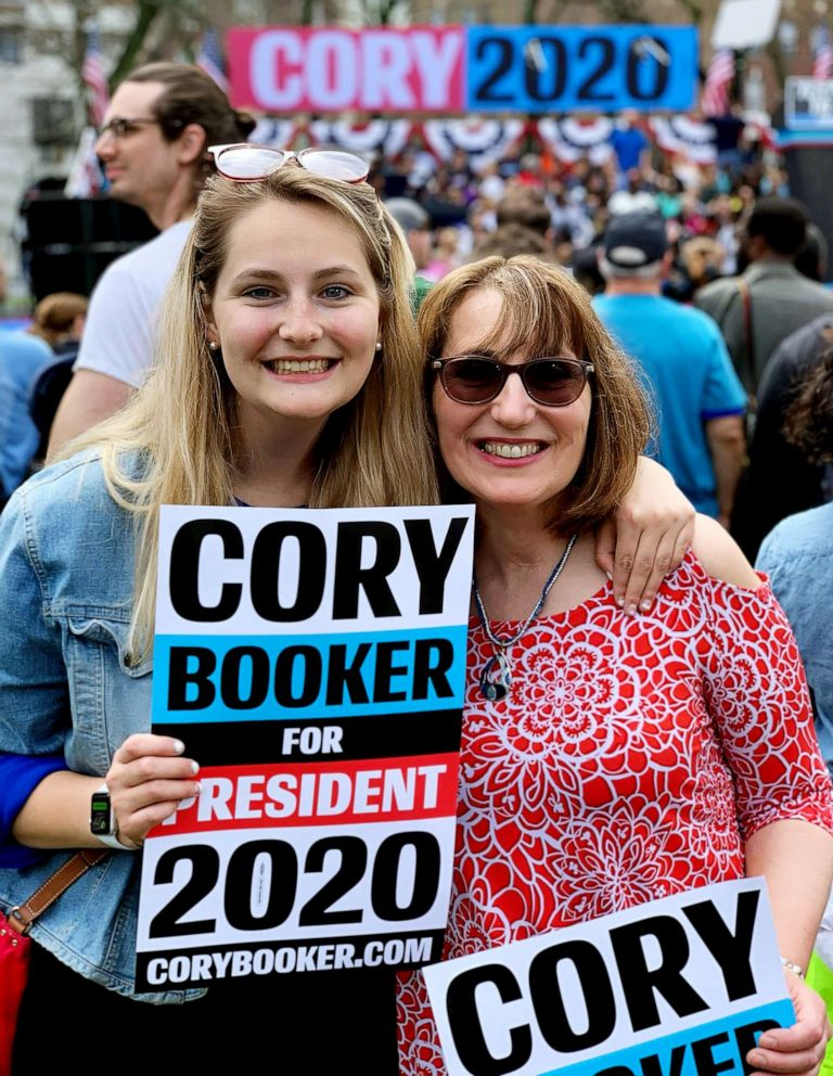 PHOTO: Keri Szewczyk is pictured with her mother at Sen. Cory Bookers Hometown Kickoff event in Newark, N.J., April 13, 2019.