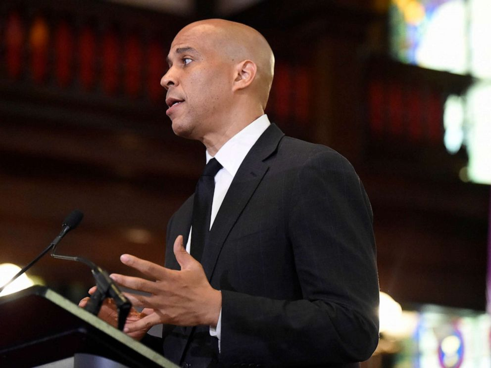 PHOTO: Democratic presidential candidate, Sen. Cory Booker speaks about gun violence and white supremacy in the sanctuary of Mother Emanuel AME on Aug. 7, 2019, in Charleston, S.C.