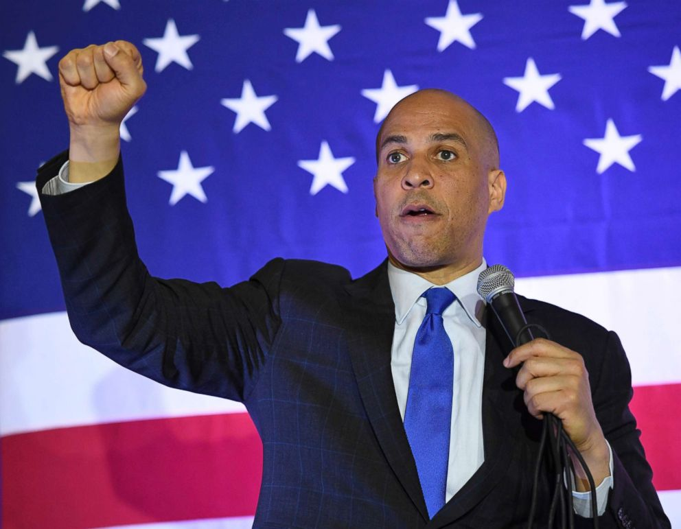 PHOTO: Sen. Cory Booker speaks at his Conversation with Cory campaign event at the Nevada Partners Event Center, Feb. 24, 2019, in North Las Vegas, Nevada.