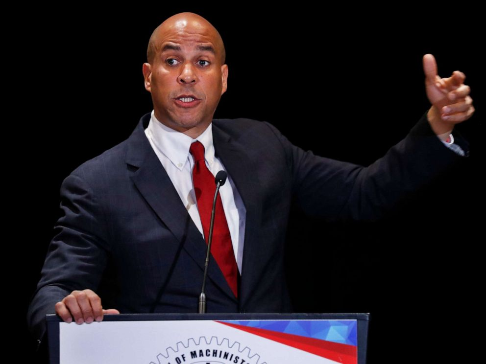 PHOTO: Democratic presidential candidate Sen. Cory Booker speaks during the Machinists Union Legislative Conference, May 7, 2019, in Washington.
