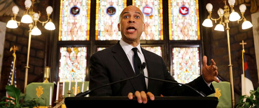 PHOTO: Democratic presidential candidate Cory Booker speaks about gun control at Mother Emanuel AME Church, Aug. 7, 2019, in Charleston, S.C.