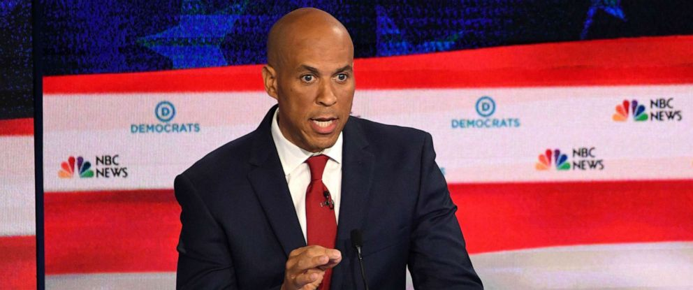PHOTO: Sen. Cory Booker participates in the first Democratic primary debate of the 2020 presidential campaign season hosted by NBC News at the Adrienne Arsht Center for the Performing Arts in Miami, June 26, 2019.
