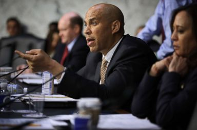 PHOTO: Sen. Cory Booker asks a question during a hearing in the Hart Senate Office Building on Capitol Hill March 14, 2018 in Washington.