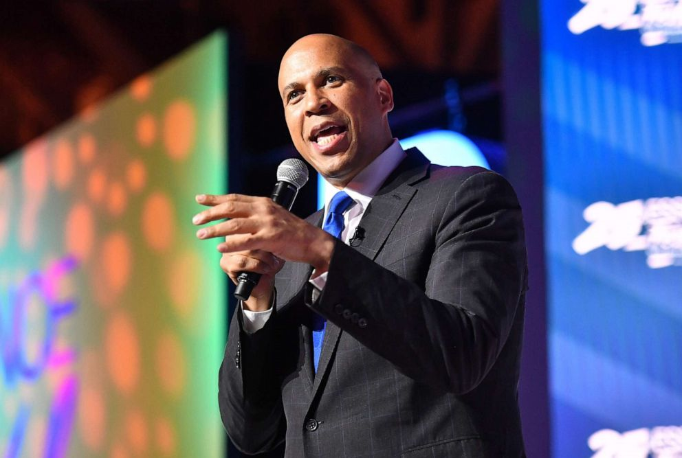 PHOTO: Cory Booker speaks on stage at 2019 Essence Festival at Ernest N. Morial Convention Center on July 06, 2019, in New Orleans.