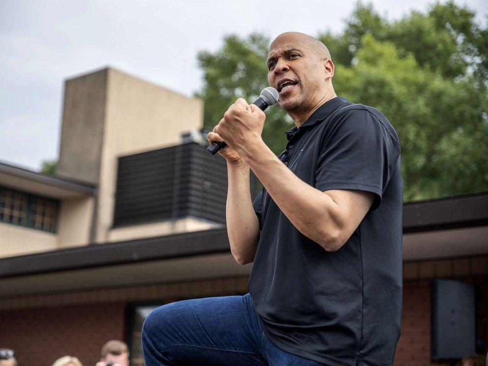 PHOTO: Democratic presidential candidate U.S. Sen. Cory Booker (D-NJ) speaks to a crowd at the Iowa State Fair, Aug. 10, 2019, in Des Moines, Iowa.